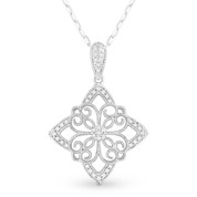 0.13ct Round Cut Diamond Pave Edwardian-Style Star Charm Pendant & Chain Necklace in 14k White Gold
