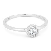 0.14ct Round Cut White Topaz & Diamond Circle-Halo Promise Ring in 14k White Gold