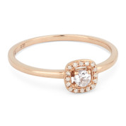 0.15ct Round Cut White Topaz & Diamond Square-Halo Promise Ring in 14k Rose Gold