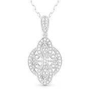 0.16ct Round Cut Diamond Pave Edwardian-Style Pendant & Chain Necklace in 14k White Gold