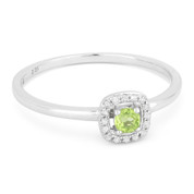 0.17ct Round Cut Peridot & Diamond Square-Halo Promise Ring in 14k White Gold