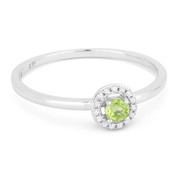 0.17ct Round Cut Peridot & Diamond Circle-Halo Promise Ring in 14k White Gold