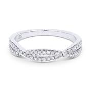 0.19ct Round Cut Diamond Overlap-Swirl Stackable Anniversary Ring / Wedding Band in 14k White Gold