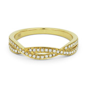 0.19ct Round Cut Diamond Overlap-Swirl Stackable Anniversary Ring / Wedding Band in 14k Yellow Gold