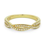 0.19ct Round Cut Diamond Overlap-Swirl Stackable Anniversary Ring / Wedding Band in 14k Yellow Gold