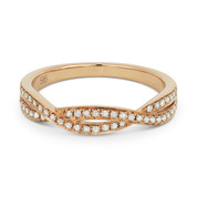 0.19ct Round Cut Diamond Overlap-Swirl Stackable Anniversary Ring / Wedding Band in 14k Rose Gold