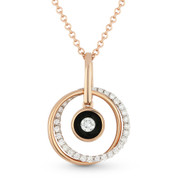 0.23ct Round Cut Diamond Double-Circle & Black Enamel Bezel Pendant & Chain Necklace in 14k Rose Gold