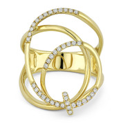 0.25ct Round Cut Diamond Overlap Loop & Swirl Right-Hand Fashion Ring in 14k Yellow Gold