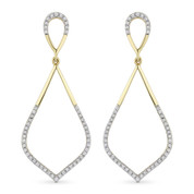 0.26ct Round Cut Diamond Pave Dangling Open-Stiletto Earrings in 14k Yellow & White Gold