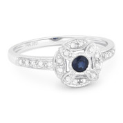 0.27ct Round Cut Sapphire & Diamond Pave Antique-Style Right-Hand Flower Ring in 14k White Gold
