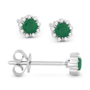 0.28ct Round Cut Emerald & Diamond Pave Baby Stud Earrings in 14k White Gold