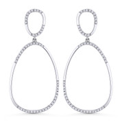 0.28ct Round Cut Diamond Pave Dangling Open Pear-Shape Earrings in 14k White Gold