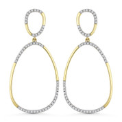 0.28ct Round Cut Diamond Pave Dangling Open Pear-Shape Earrings in 14k Yellow & White Gold