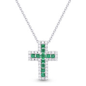0.30ct Round Brilliant Cut Emerald & Diamond Cross Pendant & Chain Necklace in 14k White Gold
