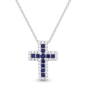 0.32ct Round Brilliant Cut Sapphire & Diamond Cross Pendant & Chain Necklace in 14k White Gold