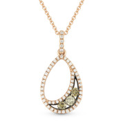 0.33ct Brown & White Diamond Pave Tear-Drop Pendant & Chain Necklace in 14k Rose & Black Gold