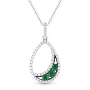 0.33ct Round Cut Emerald & Diamond Pave Tear-Drop Pendant & Chain Necklace in 14k White & Black Gold