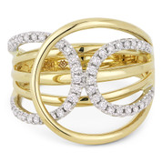 0.33ct Round Cut Diamond Pave Overlap Loop Right-Hand Wide Statement Ring in 14k Yellow & White Gold