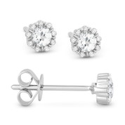 0.34ct Round Cut White Topaz & Diamond Pave Baby Stud Earrings in 14k White Gold