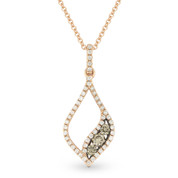 0.35ct Brown & White Diamond Pave Pendant & Chain Necklace in 14k Rose & Black Gold