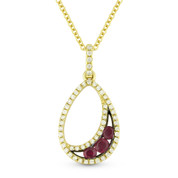 0.35ct Round Cut Ruby & Diamond Pave Tear-Drop Pendant & Chain Necklace in 14k Yellow & Black Gold