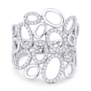 0.35ct Round Diamond Pave Oval-Cluster Right-Hand Fashion Ring in 14k White Gold