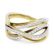 0.35ct Round Cut Diamond Right-Hand Overlap Loop Fashion Ring in 14k Yellow & White Gold