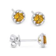 0.36ct Round Brilliant Cut Citrine & Diamond 3-Prong 5.5mm Halo Stud Earrings in 14k White Gold