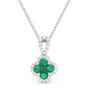 0.36ct Emerald Cluster & Diamond Pave Flower Charm Pendant & Chain Necklace in 14k White Gold