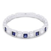0.36ct Sapphire & Diamond Bezel & Square Setting Stackable Anniversary Ring / Wedding Band in 18k White Gold