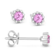 0.36ct Round Cut Lab-Created Pink Sapphire & Diamond Pave Baby Stud Earrings in 14k White Gold