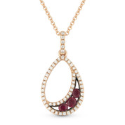 0.36ct Round Cut Ruby & Diamond Pave Tear-Drop Pendant & Chain Necklace in 14k Rose & Black Gold