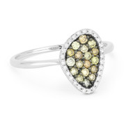 0.37ct Round Cut Fancy-Colored Diamond Right-Hand Pave Ring in 14k White & Black Gold