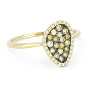 0.37ct Round Cut Fancy-Colored Diamond Right-Hand Pave Ring in 14k Yellow & Black Gold