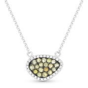 0.37ct Fancy-Colored & White Diamond Pave Mysterio Pendant & Chain Necklace in 14k White & Black Gold