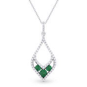 0.37ct Round Cut Emerald-Trio & Diamond Pave Pendant & Chain Necklace in 14k White & Black Gold