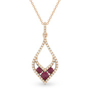 0.37ct Round Cut Ruby-Trio & Diamond Pave Pendant & Chain Necklace in 14k Rose & Black Gold