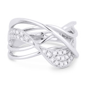 0.38ct Round Cut Diamond Pave Overlap Loop Right-Hand Statement Ring in 14k White Gold