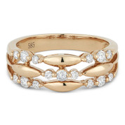 0.38ct Round Cut Diamond Tri-Cluster Right-Hand Fashion Band in 14k Rose Gold