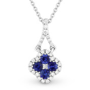 0.39ct Sapphire Cluster & Diamond Pave Flower Charm Pendant & Chain Necklace in 14k White Gold