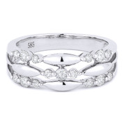0.39ct Round Cut Diamond Tri-Cluster Right-Hand Fashion Band in 14k White Gold
