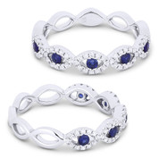 0.39ct Round Cut Sapphire & Diamond Pave Evil Eye Charm Ring in 18k White Gold