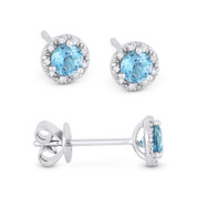 0.40ct Round Brilliant Cut Blue Topaz & Diamond 3-Prong 5.5mm Halo Stud Earrings in 14k White Gold
