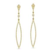 0.40ct Round Cut Diamond Pave Dangling Open Arrow-Stiletto Earrings w/ Pushbacks in 14k Yellow Gold