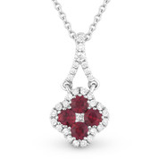 0.41ct Ruby Cluster & Diamond Pave Flower Charm Pendant & Chain Necklace in 14k White Gold