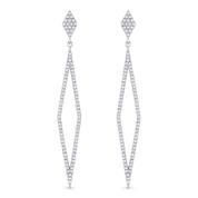 0.42ct Round Cut Diamond Pave Dangling Open Diamond-Shaped Stiletto Earrings w/ Pushbacks in 14k White Gold