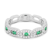 0.42ct Round Cut Emerald & Diamond Pave Right-Hand Band in 14k White Gold