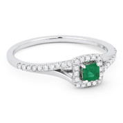 0.42ct Princess Cut Emerald & Round Diamond Halo Right-Hand Promise Ring in 14k White Gold