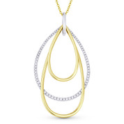 0.42ct Diamond Pave & Plain Tear-Drop Stack Statement Pendant & Chain Necklace in 14k Yellow & White Gold