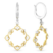 0.42ct Round Cut Diamond Vintage-Style Filigree-Frame Dangling Earrings in 14k Yellow & White Gold